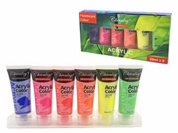 Akrilo dažų rinkinys 6 spalvų fluor